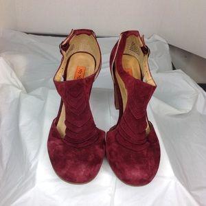 Miz Mooz T-strap Ruffle Heels